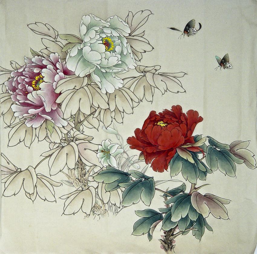 牡丹蝴蝶-工笔画